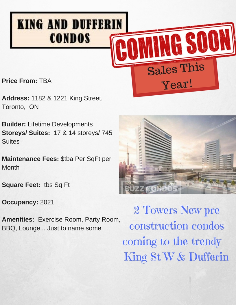 King and Dufferin Condos project info- BuzzCondos